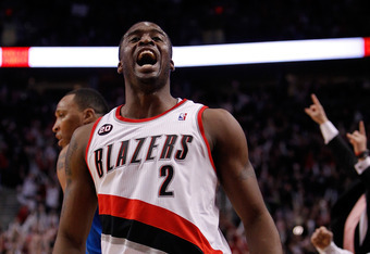 PORTLAND, OR - APRIL 21:  Wesley Matthews #2 of the Portland Trail Blazers celebrates a three point shot in the first quarter against the Dallas Mavericks in Game Three of the Western Conference Quarterfinals in the 2011 NBA Playoffs on April 21, 2011 at