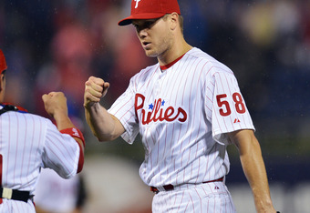 PHILADELPHIA, PA - MAY 14: Jonathan Papelbon #58 and Carlos Ruiz #51 of the Philadelphia Phillies celebrate a 5-1 victory over the Houston Astros at Citizens Bank Park on May 14, 2012 in Philadelphia, Pennsylvania. (Photo by Drew Hallowell/Getty Images)
