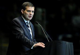 STATE COLLEGE, PA - JANUARY 26: Jay Paterno, son of Joe Paterno, pauses during his speech during a public memorial for former Penn State Football coach Joe Paterno at the Bryce Jordan Center on the campus of Penn State, January 26, 2012 in State College,