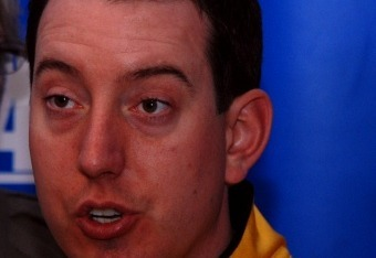 Kyle Busch takes questions from media at Daytona before the 2012 season.  Credit: Dwight Drum at Racetake.com