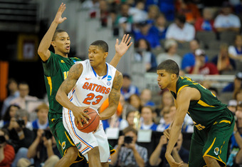 OMAHA, NE - MARCH 18: Bradley Beal #23 of the Florida Gators looks for an opening in the Norfolk State Spartans during the second round of the NCAA Mens Basketball Tournament at CenturyLink Center March 18, 2012 in Omaha, Nebraska. (Photo by Eric Francis/