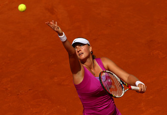 PARIS, FRANCE - JUNE 02:  Petra Kvitova of Czech Republic serves in her women's singles third round match against Nina Bratchikova of Russia during day 7 of the French Open at Roland Garros on June 2, 2012 in Paris, France.  (Photo by Clive Brunskill/Gett