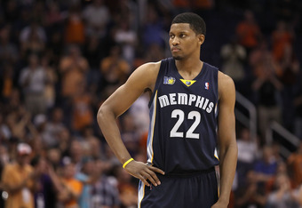 PHOENIX - NOVEMBER 05:  Rudy Gay #22 of the Memphis Grizzlies during the NBA game against the Phoenix Suns at US Airways Center on November 5, 2010 in Phoenix, Arizona. NOTE TO USER: User expressly acknowledges and agrees that, by downloading and or using