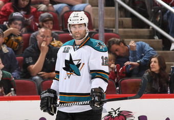 GLENDALE, AZ - MARCH 10:  Patrick Marleau #12 of the San Jose Sharks during the NHL game against the Phoenix Coyotes at Jobing.com Arena on March 10, 2012 in Glendale, Arizona.  The Coyotes defeated the Sharks 3-0.  (Photo by Christian Petersen/Getty Imag