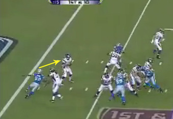 Loadholt is completely beaten by Avril's speed, and the defensive end sets his sights on the quarterback (footage courtesy of Fox).