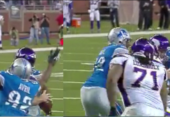 In the first frame, Avril swings for the arm. In the second, the ball pops out (footage courtesy of Fox).
