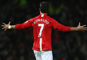 Cristiano Ronaldo scored an impressive 42 goals for United in 2007-08.