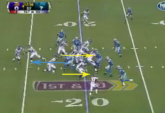 Avril goes in untouched as both Loadholt and the tight end block other Lions (footage courtesy of Fox).