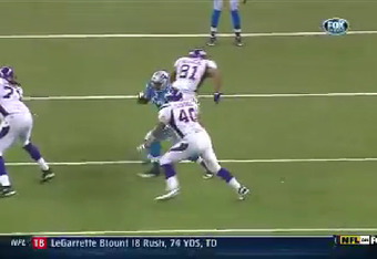 Finally, the Vikings hold in another player (tight end Jim Kleinsasser) to stop Avril (footage courtesy Fox).