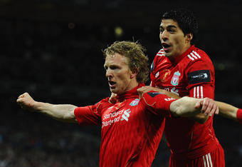 LONDON, ENGLAND - FEBRUARY 26:  Dirk Kuyt of Liverpool celebrates with Luis Suarez as he scores their second goal during the Carling Cup Final match between Liverpool and Cardiff City at Wembley Stadium on February 26, 2012 in London, England.  (Photo by