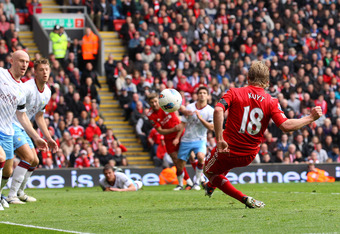 LIVERPOOL, ENGLAND - APRIL 07:  Dirk Kuyt of Liverpool misses an open goal during the Barclays Premier League match between Liverpool and Aston Villa at Anfield on April 7, 2012 in Liverpool, England.  (Photo by Alex Livesey/Getty Images)