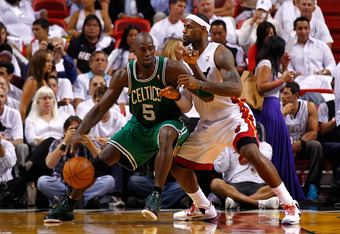 MIAMI, FL - JUNE 05:  Kevin Garnett #5 of the Boston Celtics posts up against LeBron James #6 of the Miami Heat in Game Five of the Eastern Conference Finals in the 2012 NBA Playoffs on June 5, 2012 at American Airlines Arena in Miami, Florida. NOTE TO US