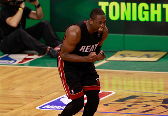 BOSTON, MA - JUNE 03:  Dwyane Wade #3 of the Miami Heat reacts as he missed the final field goal attempt of the game in overtime against the Boston Celtics in Game Four of the Eastern Conference Finals in the 2012 NBA Playoffs on June 3, 2012 at TD Garden