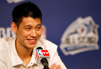 ORLANDO, FL - FEBRUARY 24:  Jeremy Lin of the New York Knicks and Team Shaq answers questions from the media during a press conference prior to the BBVA Rising Stars Challenge part of the 2012 NBA All-Star Weekend at Amway Center on February 24, 2012 in O