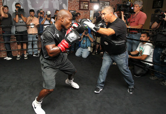 LOS ANGELES, CA - MAY 29:  Timothy Bradley spars with trainer Joel Diaz at a media workout  at Fortune Gym on May 29, 2012 in Los Angeles, California.  The workout is in advance of Bradley's upcoming WBO welterweight championship fight against Manny Pacqu