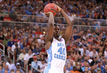 ST LOUIS, MO - MARCH 25:  Harrison Barnes #40 of the North Carolina Tar Heels attempts a shot against Kansas Jayhawks during the 2012 NCAA Men's Basketball Midwest Regional Final at Edward Jones Dome on March 25, 2012 in St Louis, Missouri. Kansas won 80-