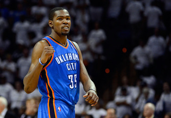 SAN ANTONIO, TX - JUNE 04:  Kevin Durant #35 of the Oklahoma City Thunder celebrates late in the game after hit a free throw against the San Antonio Spurs in Game Five of the Western Conference Finals of the 2012 NBA Playoffs at AT&T Center on June 4, 201