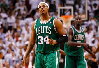 MIAMI, FL - JUNE 05:  (L-R) Paul Pierce #34 and Kevin Garnett #5 of the Boston Celtics react late in the fourth quarter against the Miami Heat in Game Five of the Eastern Conference Finals in the 2012 NBA Playoffs on June 5, 2012 at American Airlines Aren