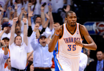 OKLAHOMA CITY, OK - JUNE 06:  Kevin Durant #35 of the Oklahoma City Thunder reacts after a play against the San Antonio Spurs in Game Six of the Western Conference Finals of the 2012 NBA Playoffs at Chesapeake Energy Arena on June 6, 2012 in Oklahoma City