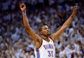 OKLAHOMA CITY, OK - JUNE 06:  Kevin Durant #35 of the Oklahoma City Thunder reacts towards the end of the game against the San Antonio Spurs in Game Six of the Western Conference Finals of the 2012 NBA Playoffs at Chesapeake Energy Arena on June 6, 2012 i