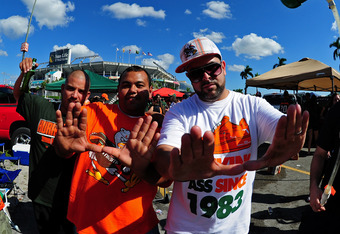 MIAMI GARDENS, FL - OCTOBER 22: Fans of the Miami Hurricanes tailgate before the game against the Georgia Tech Yellow Jackets at Sun Life Stadium on October 22, 2011 in Miami Gardens, Florida. Photo by Scott Cunningham/Getty Images)