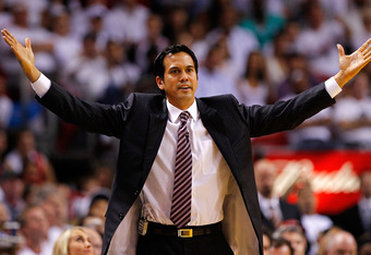 MIAMI, FL - MAY 22: Miami Heat head coach Erik Spoelstra reacts to a play during Game Five of the Eastern Conference Semifinals in the 2012 NBA Playoffs against the Indiana Pacers at AmericanAirlines Arena on May 22, 2012 in Miami, Florida. NOTE TO USER: