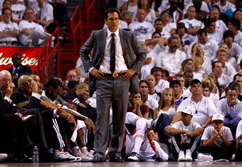 MIAMI, FL - JUNE 05:  Head coach Erik Spoelstra of the Miami Heat looks on in the fourth quarter against the Boston Celtics in Game Five of the Eastern Conference Finals in the 2012 NBA Playoffs on June 5, 2012 at American Airlines Arena in Miami, Florida