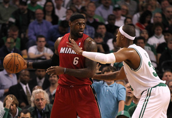 BOSTON, MA - JUNE 07:  LeBron James #6 of the Miami Heat looks to pass in the first quarter against Paul Pierce #34 of the Boston Celtics in Game Six of the Eastern Conference Finals in the 2012 NBA Playoffs on June 7, 2012 at TD Garden in Boston, Massach