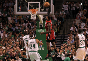 BOSTON, MA - JUNE 07:  LeBron James #6 of the Miami Heat dunks in the first quarter against the Boston Celtics in Game Six of the Eastern Conference Finals in the 2012 NBA Playoffs on June 7, 2012 at TD Garden in Boston, Massachusetts. NOTE TO USER: User