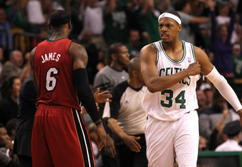 BOSTON, MA - JUNE 07:  Paul Pierce #34 of the Boston Celtics reacts against LeBron James #6 of the Miami Heat in Game Six of the Eastern Conference Finals in the 2012 NBA Playoffs on June 7, 2012 at TD Garden in Boston, Massachusetts. NOTE TO USER: User e