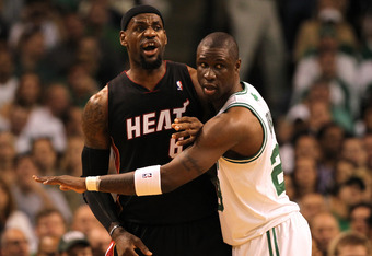 BOSTON, MA - JUNE 01:  LeBron James #6 of the Miami Heat calls for the ball on offense in the first half against Mickael Pietrus #28 of the Boston Celtics in Game Three of the Eastern Conference Finals in the 2012 NBA Playoffs on June 1, 2012 at TD Garden