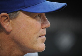 BALTIMORE, MD - MAY 26:  Manager Ned Yost #3 of the Kansas City Royals looks on during a baseball game against the Baltimore Orioles at Oriole Park at Camden Yards on May 26, 2012 in Baltimore, Maryland.  (Photo by Mitchell Layton/Getty Images)