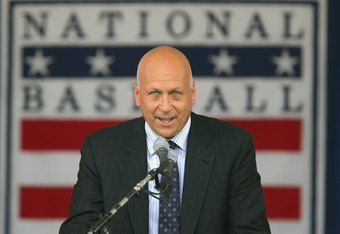 COOPERSTOWN, NY - JULY 29: 2007 inductee Cal Ripken Jr. gives his acceptance speech at Clark Sports Center during the Baseball Hall of Fame induction ceremony on July 29, 2007 in Cooperstown, New York. (Photo by Chris McGrath/Getty Images)