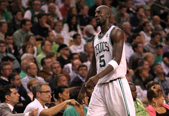 BOSTON, MA - JUNE 07:  Kevin Garnett #5 of the Boston Celtics walks back to the bench against the Miami Heat in Game Six of the Eastern Conference Finals in the 2012 NBA Playoffs on June 7, 2012 at TD Garden in Boston, Massachusetts. NOTE TO USER: User ex
