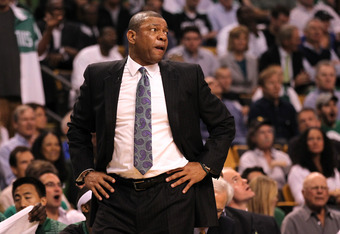 BOSTON, MA - JUNE 07:  Head coach Doc Rivers of the Boston Celtics looks on in the first half against the Miami Heat in Game Six of the Eastern Conference Finals in the 2012 NBA Playoffs on June 7, 2012 at TD Garden in Boston, Massachusetts. NOTE TO USER: