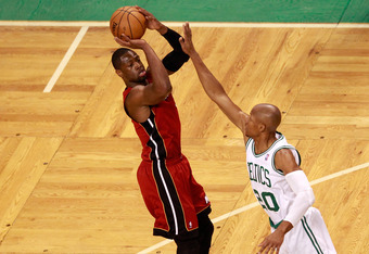 BOSTON, MA - JUNE 07:  Dwyane Wade #3 of the Miami Heat attempts a shot in the first quarter against Ray Allen #20 of the Boston Celtics in Game Six of the Eastern Conference Finals in the 2012 NBA Playoffs on June 7, 2012 at TD Garden in Boston, Massachu