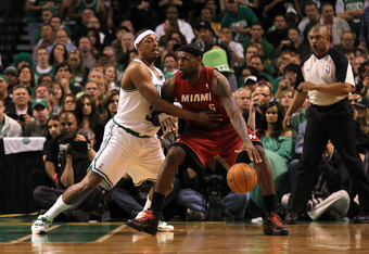 BOSTON, MA - JUNE 07:  LeBron James #6 of the Miami Heat posts up in the second quarter against Paul Pierce #34 of the Boston Celtics in Game Six of the Eastern Conference Finals in the 2012 NBA Playoffs on June 7, 2012 at TD Garden in Boston, Massachuset