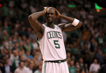 BOSTON, MA - JUNE 07: Kevin Garnett #5 of the Boston Celtics reacts in the second half against the Miami Heat  in Game Six of the Eastern Conference Finals in the 2012 NBA Playoffs on June 7, 2012 at TD Garden in Boston, Massachusetts. NOTE TO USER: User