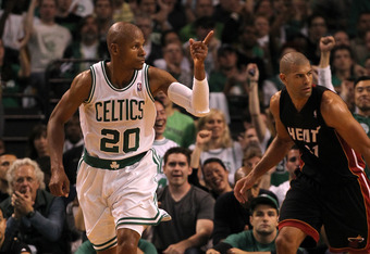 BOSTON, MA - JUNE 03:  Ray Allen #20 of the Boston Celtics reacts after he made a basket against Shane Battier #31 of the Miami Heat in Game Four of the Eastern Conference Finals in the 2012 NBA Playoffs on June 3, 2012 at TD Garden in Boston, Massachuset