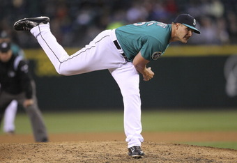 SEATTLE, WA - JUNE 08:  Relief pitcher Stephen Pryor #46 of the Seattle Mariners pitches against the Los Angeles Dodgers at Safeco Field on June 8, 2012 in Seattle, Washington.(Photo by Otto Greule Jr/Getty Images)