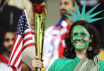 RUSTENBURG, SOUTH AFRICA - JUNE 26:  A USA fan, dressed as the statue of liberty, enjoys the atmosphere prior to the 2010 FIFA World Cup South Africa Round of Sixteen match between USA and Ghana at Royal Bafokeng Stadium on June 26, 2010 in Rustenburg, So