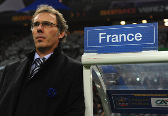 PARIS, FRANCE - NOVEMBER 11:  Coach Laurent Blanc of France looks on during the International Friendly between France and USA at Stade de France on November 11, 2011 in Paris, France.  (Photo by Mike Hewitt/Getty Images)