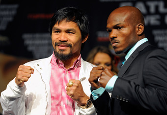 LAS VEGAS, NV - JUNE 06: Boxers Manny Pacquiao (L) and Timothy Bradley pose during the final news conference for their bout at the MGM Grand Hotel/Casino June 6, 2012 in Las Vegas, Nevada. Pacquiao will defend his WBO welterweight title against Bradley wh
