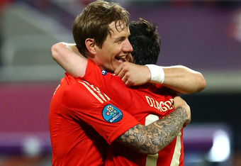 Pavlyuchenko celebrates with team-mate Alan Dzagoev, could further celebrations be on the cards for the Russians?