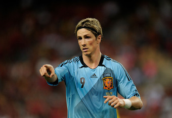 SEVILLE, SPAIN - JUNE 03:  Fernando Torres of Spain points during the International Friendly match between Spain and China at La Cartuja stadium on June 3, 2012 in Seville, Spain.  (Photo by Denis Doyle/Getty Images)