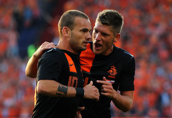 ROTTERDAM, NETHERLANDS - MAY 30:  Wesley Sneijder (#10) and Stijn Schaars of Netherlands speak during the International Friendly between the Netherlands and Slovakia at De Kuip Stadion on May 30, 2012 in Rotterdam, Netherlands.  (Photo by Dean Mouhtaropou