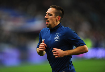 PARIS, FRANCE - NOVEMBER 11:  Franck Ribery of France in action during the International Friendly between France and USA at Stade de France on November 11, 2011 in Paris, France.  (Photo by Mike Hewitt/Getty Images)
