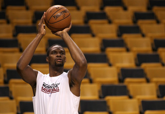 BOSTON, MA - JUNE 07:  Chris Bosh #1 of the Miami Heat warms up against the Boston Celtics in Game Six of the Eastern Conference Finals in the 2012 NBA Playoffs on June 7, 2012 at TD Garden in Boston, Massachusetts. NOTE TO USER: User expressly acknowledg