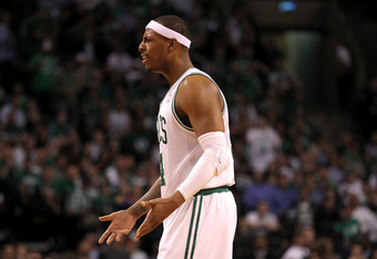 BOSTON, MA - JUNE 07:  Paul Pierce #34 of the Boston Celtics reacts against the Miami Heat in Game Six of the Eastern Conference Finals in the 2012 NBA Playoffs on June 7, 2012 at TD Garden in Boston, Massachusetts. NOTE TO USER: User expressly acknowledg
