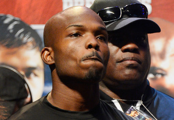 LAS VEGAS, NV - JUNE 08:  Boxer Timothy Bradley is interviewed during the official weigh-in for his bout against Manny Pacquiao at the MGM Grand Garden Arena on June 8, 2012 in Las Vegas, Nevada. Pacquiao will defend his WBO welterweight title against Bra